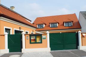 Einfahrtstore Zweifluegeltore Aluminium klassisch grün Sonne