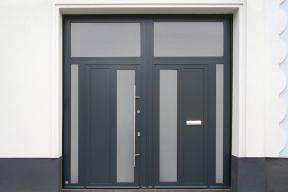 Garagentore Zweifluegeltore Aluminium modern anthrazit Glas